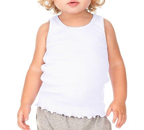 Baby White Tank - Kavio Infants Scalloped Beater Tank White 18M