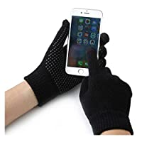 ANSLYQA Texting Touchscreen Gloves Knit Wool Lined Winter Warm for Men Women Driving Running Cycling (1-Pair),Black