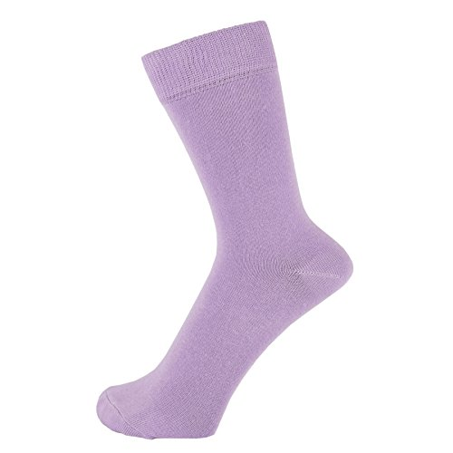 ZAKIRA Finest Combed Cotton Dress Socks in Plain Vivid Colours for Men, Women, 6-9 (US), Lilac (Ladies Purple Cotton Socks)