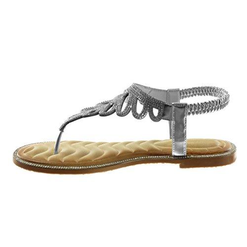 Angkorly Zapatillas Moda Sandalias Chanclas Slip-On Correa Correa de Tobillo Mujer Strass Fantasía Tacón Ancho 1 cm Plata