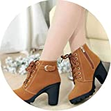 2018 Winter Women Boots Solid Lace-up European PU Fashion high Heels Boots,Yellow,5