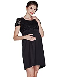 Sweet Mommy Maternity and Nursing Scalloped Lace Short Sleeve Dress