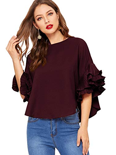 DIDK Women's Plain Ruffle Bell Sleeve Boat Neck Solid Top Burgundy S ()