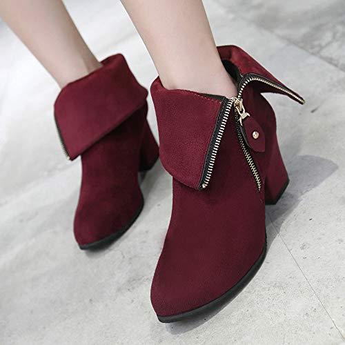 Chaussures Mode Hauts Bottines Épais Du Vin Sanfashion Zipper Femme Pointues Talon Bottes zSwf6X0