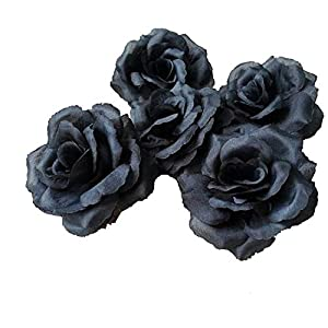 "3"" Silk Rose Heads 100 Artificial Flowers Wholesale 8cm for Kissing Balls Pomander Flower Wall Wedding Arch Flowers (Black) 47"