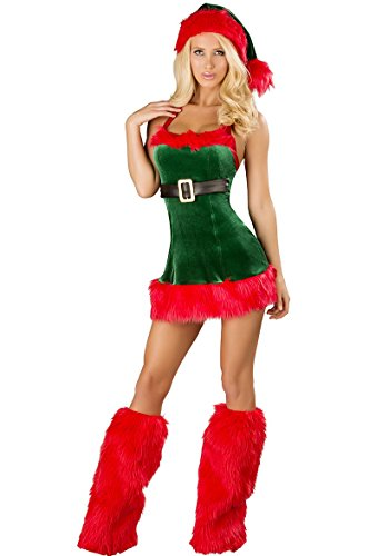 WELVT Girl's Miss Santa Christmas Elf Costumes Suit With Hat Sexy Lingerie Sets (One Size Fit For US 2-10, Green D9) Adult Sexy Christmas Elf