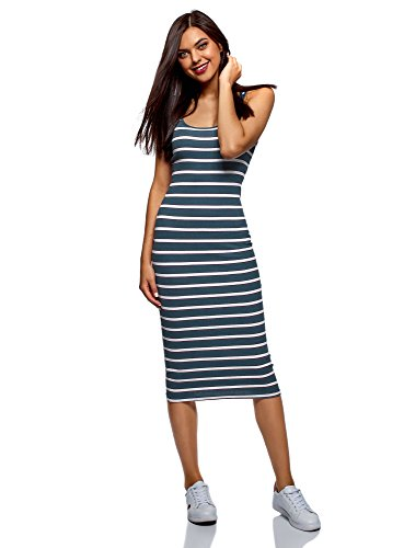 oodji Ultra Women's Midi Cami Dress, Blue, 6 -