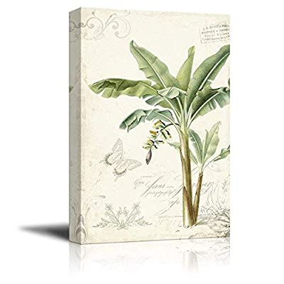Vintage Stylet Tropical Plant with Giant Leaves, Classic Artwork, Delightful Style