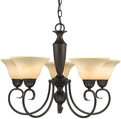 Golden Lighting 1395 RBZ-Tea Centennial Chandelier, 25-1 2-Inch W by 18-Inch H, Rubbed Bronze