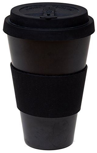 Reusable Coffee Cup Travel Mug Eco-Friendly Bamboo Fibre Silicon Natural 16oz (Black)