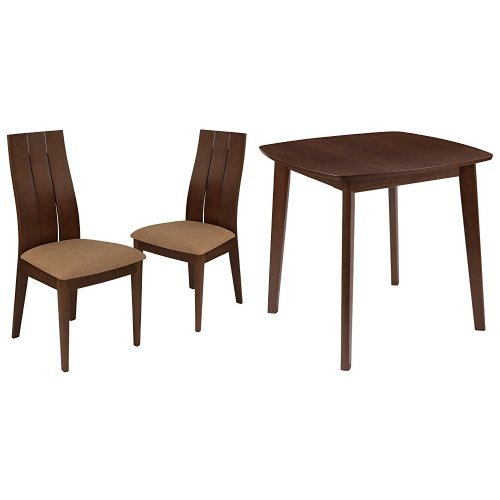 Flash Furniture Barrington 3 Piece Walnut Wood Dining Table Set with Wide Slat Back Wood Dining Chairs - Padded Seats Beechwood Slat Back Kitchen Chair