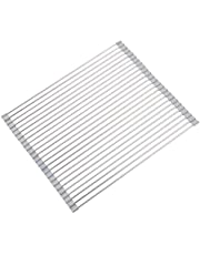 """EMBATHER Roll Up Dish Drying Rack: 17.3"""" L x15 W Over The Sink Multipurpose Folding Dish Drainer for Kitchen Counter with Silicone Coated Stainless Steel (Warm Gray)"""