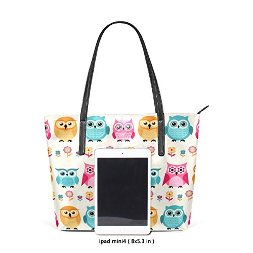 Women's Handbag PU Fashion Cartoon Shoulder Totes Purses Owls Bags TIZORAX Leather Top Handle nCqxEYdwX