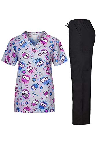 MedPro Women's Printed Medical Scrub Set Mock Wrap Top and Pants H Grey Blue XL