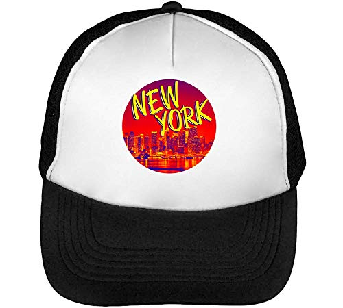 New York Backgrounded Gorras Hombre Snapback Beisbol Negro Blanco