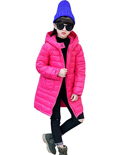 Menschwear Girl's Down Jacket Hooded Winter Warm Outwear Thicker Down Jacket (130,Rose) by Menschwear