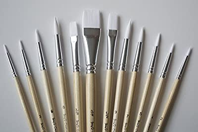 Jerry Q Art 12 PC White Synthetic Hair Round And Flat Paint Brush Set With Short Wood Handle For Acrylic, Watercolor and All Media JQ17931