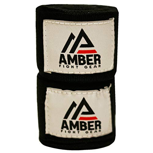 """Amber Fight Gear Semi Elastic Professional 200"""" Hand Wraps with Hook and Loop Closure for Boxing Kickboxing Muay Thai…"""