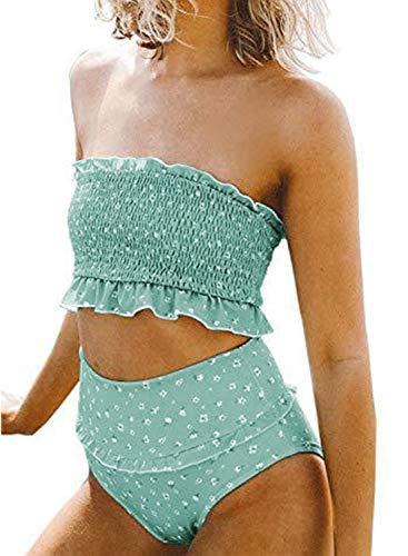 Aleumdr Women Bandeau High Waist Push up Two Pieces Bikini Set Sexy Strapless Swimsuit Small 4 6