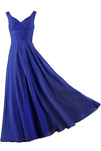 einfach Royalblau Damen Brautfern Kleid Schnuerung Ivydressing aermellos bodenlang zwei Partykleid Abendkleid Satin Traeger Falte gAwUx