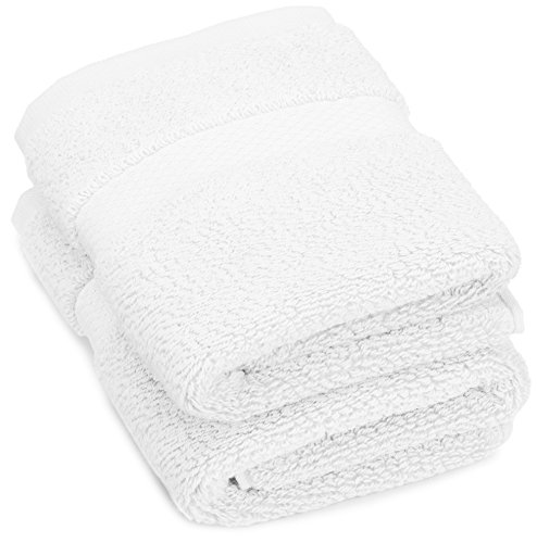 Pinzon Heavyweight Luxury 820-Gram Washcloths - Set of 2, (White Washcloth)
