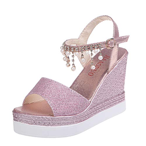 2019 Fashion Women Pearl Chain Roman Sandals Retro High Wedges Sandal Non Slip Thick Bottom Platform Boho Beach Shoes (Pink, 7 M US)
