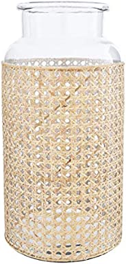 "Bloomingville 14.5"" H Glass Decorative Cane Sleeve Vase,"