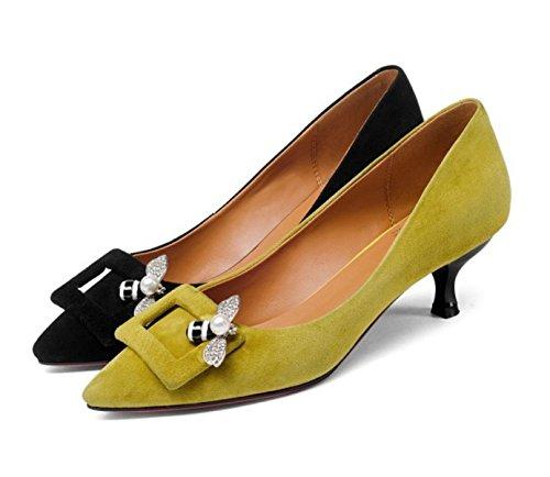 On Mit Pumps Schwarz Damen Büro Strass Party Heel Arbeit Kleid Court Schuhe Slip gelb Damen Kitten Wildleder qxwHUt4wO