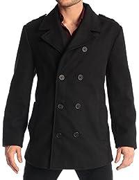 Jake Mens Wool Pea Coat Double Breasted Jacket