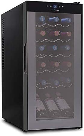 18 Bottle Wine Cooler Refrigerator - White Red Wine Fridge Chiller Countertop Wine Cooler, Freestanding Compact Mini Wine Fridge 18 Bottle w/ Digital Control, Airtight Glass Door - NutriChef PKCWC180