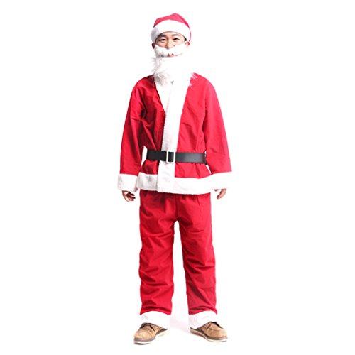 Children 7Pcs Velvet Santa Claus Suit With Beard (Child Santa Wig And Beard)