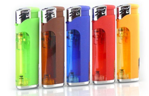 Smoke Mart Refillable Butane Cigarette Lighter with LED Flashlight (Quantity of 5)