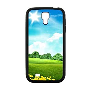 Personalized Clear Phone Case For Samsung Galaxy S4,sunshine blue clouds sky and green land wangjiang maoyi