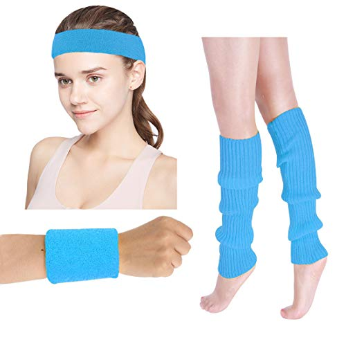 Women's 80s Costumes Accessories Neon Headband Wristband Leg Warmers Set for 1980s Theme Party Supplies(Neon Blue) -