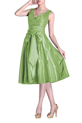 neck Taffeta Graugrün line Modest Length A bridesmaids V Dress Tea Pleated Formal Bridesmaid wXAqg0g