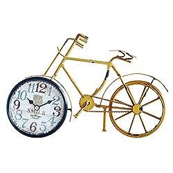 ZGP % Desk Clock Creative Retro Wrought Iron Bicycle Metal Clock Living Room Bedroom Bedside Mute Non-Ticking Home Decoration Clock Classic Clock (Color : A)