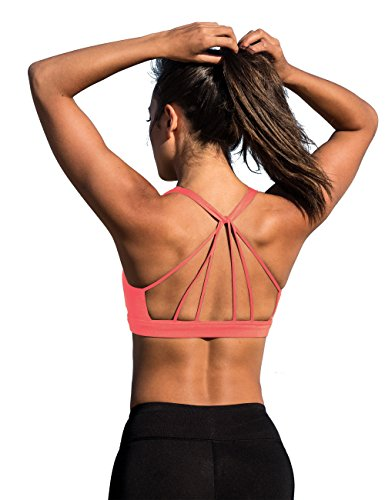 - icyzone Padded Strappy Sports Bra Yoga Tops Activewear Workout Clothes for Women (M, Fusion Coral)