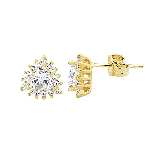 Sterling Silver Cubic Zirconia Triangle Shape with Center Stone Stud Earrings Choice of Color (yellow-gold-plated-silver)