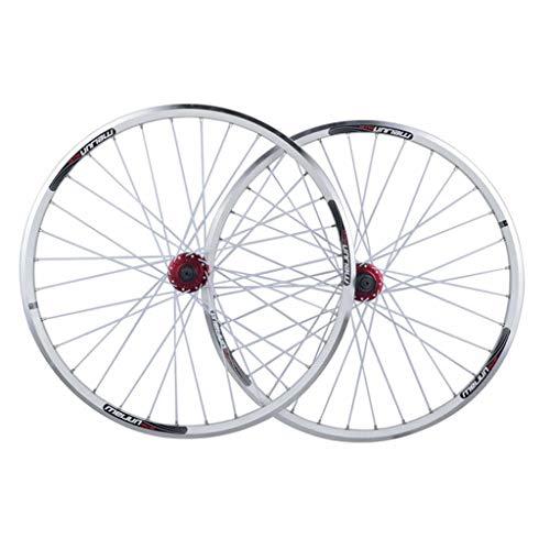 ZNND 26 Bike Wheelset, Double Wall MTB Rim Quick Release V-Brake Hybrid/Mountain Bike Hole Disc 7 8 9 10 Speed (Color : White, Size : 26inch) ()