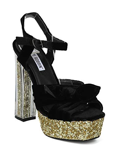 Alrisco Women Velvet Bow Tie Glitter Platform Perspex Block Heel - IA33 Cape Robbin Line - Black Mix Media (Size: 10)