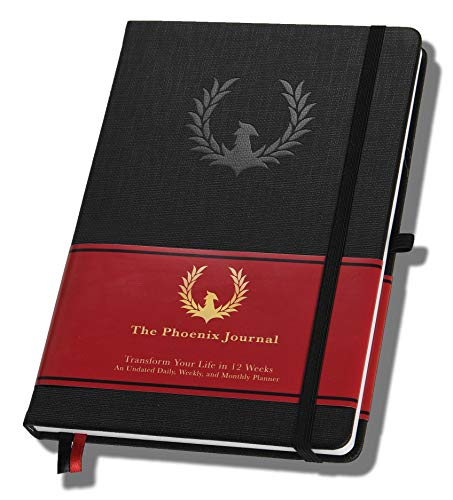 The Phoenix Journal - Best Daily Goal Planner, Organizer, Calendar for Goal Setting, Gratitude, Happiness, Productivity - Vision Board & Habit Tracking - 12 Weeks, Undated, Hardcover - Black