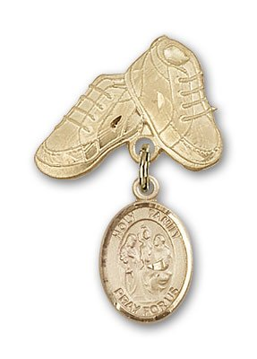ReligiousObsession's 14K Gold Baby Badge with Holy Family Charm and Baby Boots Pin by Religious Obsession
