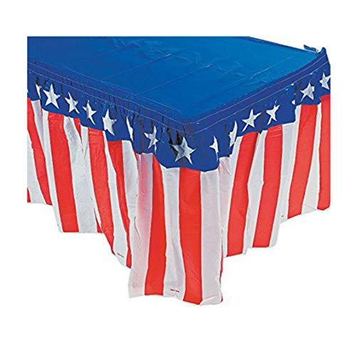 Fun Express Patriotic USA Red White & Blue Tableskirt for July 4th Party | 14 Ft. X 29