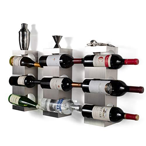 Liquor Display Stainless Steel - Set of 3 Stainless Steel Wine Rack - Wide Multi Bottle Holder with Top Shelf Section - Modern Art Design - Wall Mount (Holds 9 Bottles)