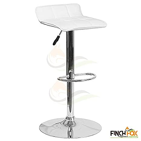 Adjustable Height Swivel Metal Bar Stool (White) by Finch Fox