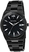 Bulova Men's 98B234 Classic Analog Display Japanese Quartz Black Watch