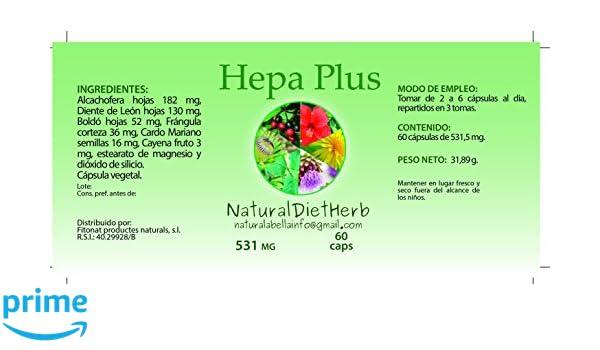 NaturalDietHerb- Hepa Plus 531 mg 60 caps / Ayuda Hígado . / Alcachofera-Boldo-Diente de León- Cardo Mariano...: Amazon.es: Salud y cuidado personal