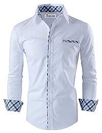 Tom's Ware Mens Premium Casual Inner Layered Dress Shirt TWNMS310S-1-WHITE-XL