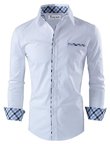 TAM WARE Mens Premium Casual Inner Contrast Dress Shirt TWNMS310S-1-WHITE-L