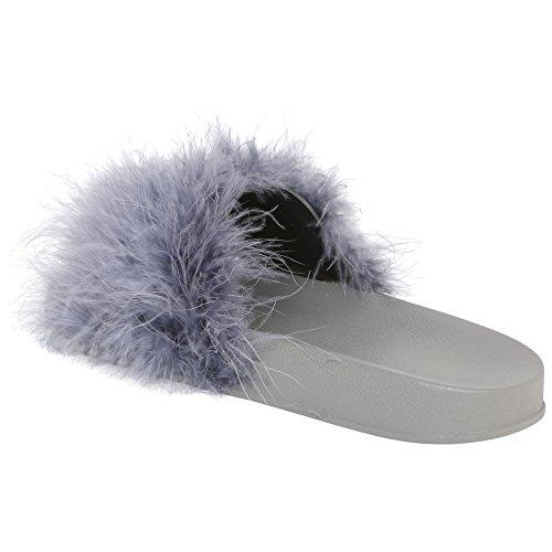 Marabou Sliders Grazia Fluffy Rabia's Faux Slip Fur Grigio Mules On Collection TIwqxpZ